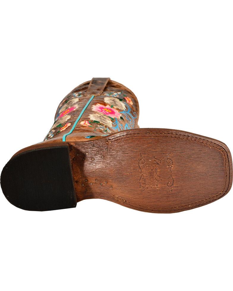 Macie Bean Women's Rose Garden Cowgirl Boots - Square Toe, Honey, hi-res