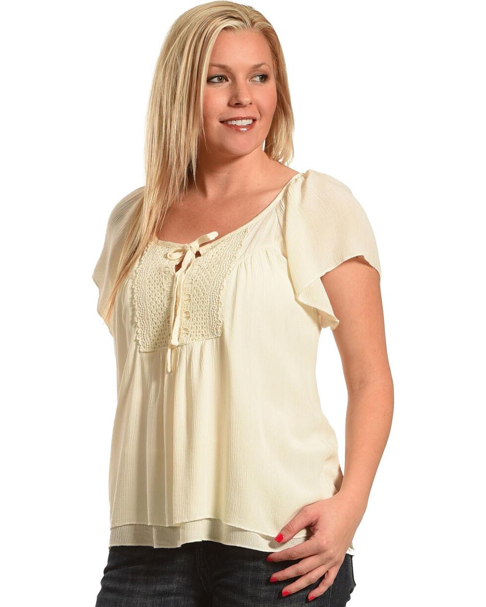 Shyanne Women's Short Sleeve Knit Blouse, Navy, hi-res