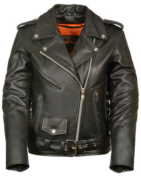 Milwaukee Leather Women's Full Length Side Lace Leather Motorcycle Jacket, Black, hi-res