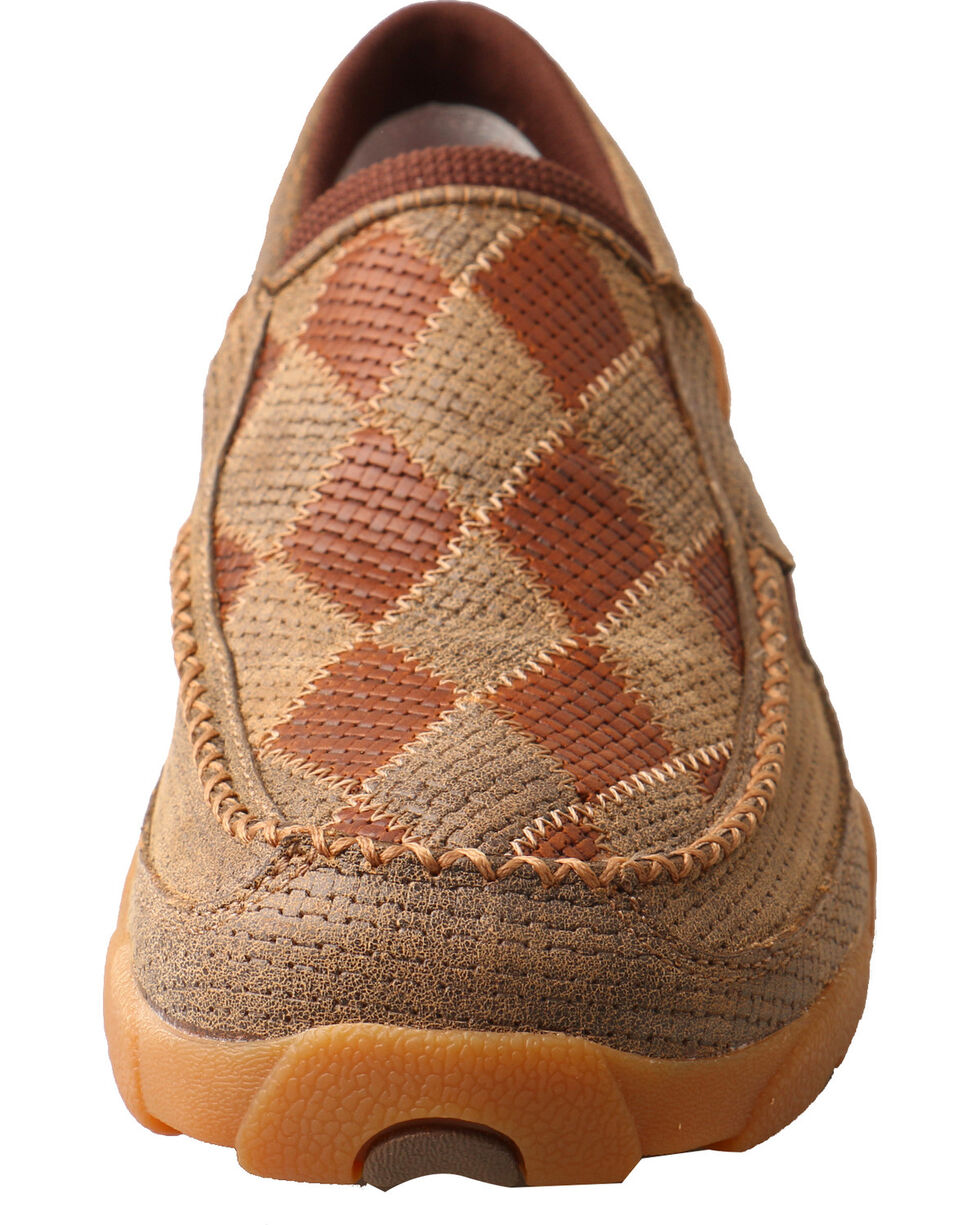 Twisted X Men's Diamond Pattern Slip On Driving Mocs - Moc Toe, Brown, hi-res