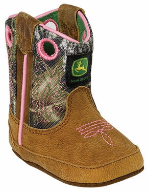 John Deere Infant Girls' Johnny Popper Camo Western Crib Boots, Tan, hi-res