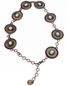Shyanne Women's Rust Copper Concho Link Belt, Rust Copper, hi-res