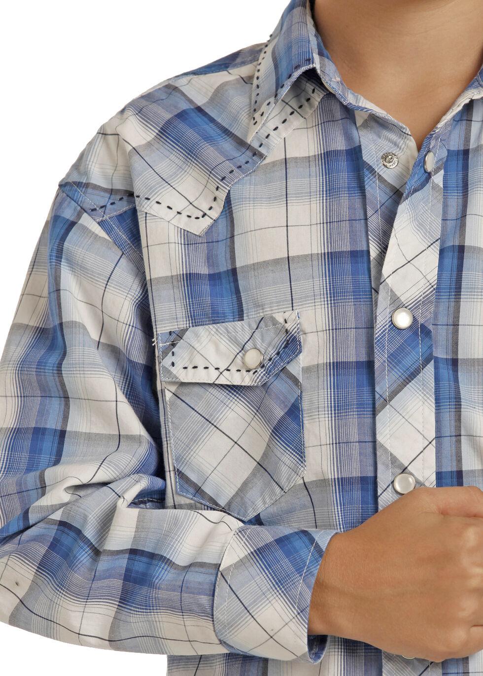 Rock & Roll Cowboy Boys' Blue Poplin Long Sleeve Plaid Shirt , Blue, hi-res
