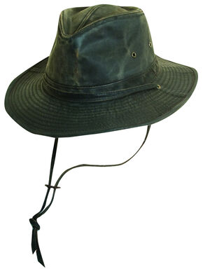 Scala Brown Weathered Cotton with Chin Cord Outback Hat, Weathered Brown, hi-res