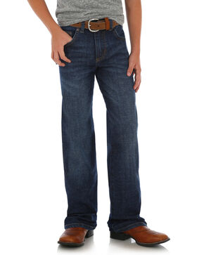 Wrangler Retro Boys' Relaxed Straight Jeans , Dark Blue, hi-res