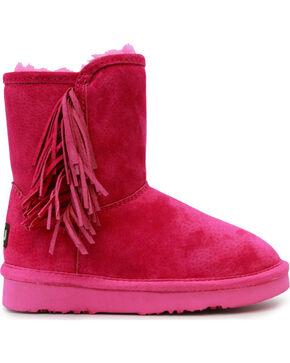 Lamo Girls' Sellas Jr. Short Fringe Side Zip Boots - Round Toe, Pink, hi-res