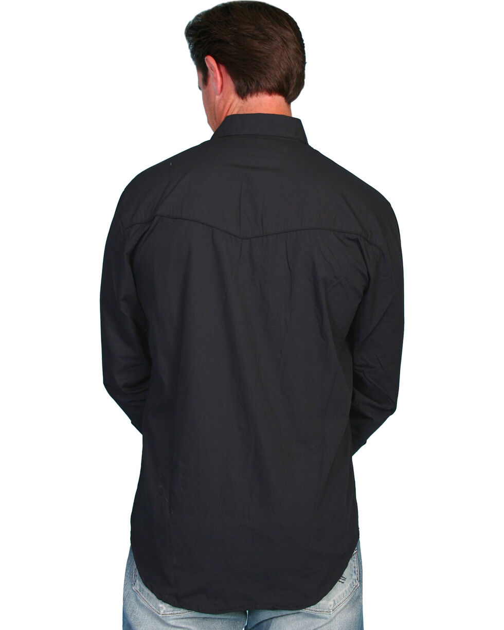 Scully Tonal Front Embroidered Western Shirt, Black, hi-res