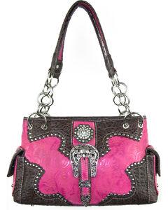 Savana Women's Pink Concealed Carry with Tooled Design Handbag, Pink, hi-res