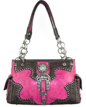 Savana Women's Pink Concealed Carry with Tooled Design Handbag, Pink, hi-res