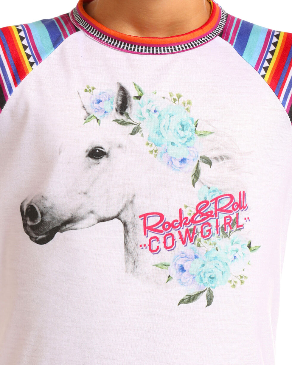 Rock & Roll Cowgirl Girls' Serape Sleeve Graphic Tee, White, hi-res