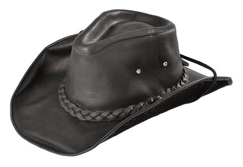 Bullhide Men's Black Melbourne Leather Hat, Black, hi-res