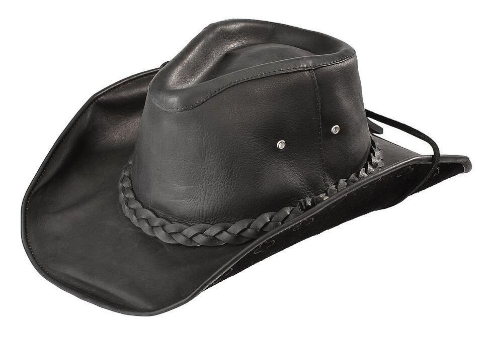 Bullhide Men's Black Melbourne Leather Hat, Black, hi-res