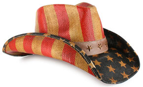 Cody James Justice American Flag Drifter Straw Cowboy Hat, Am Spirit, hi-res