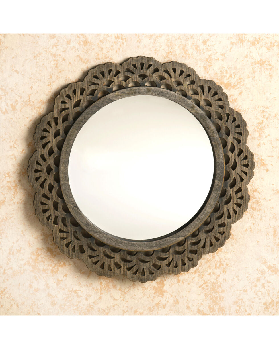 BB Ranch Wood Medallion Mirror, No Color, hi-res