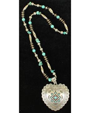 Blazin Roxx Heart Concho Beaded Necklace , Silver, hi-res