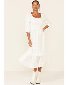 Mikarose Women's White Greta Tiered Dress, White, hi-res
