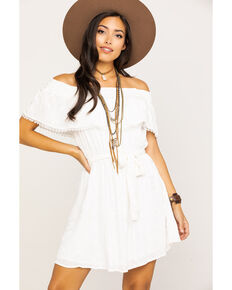 7cdcf1a2c96 Miss Me Womens White Embroidered Eyelet Off Shoulder Dress, White, hi-res