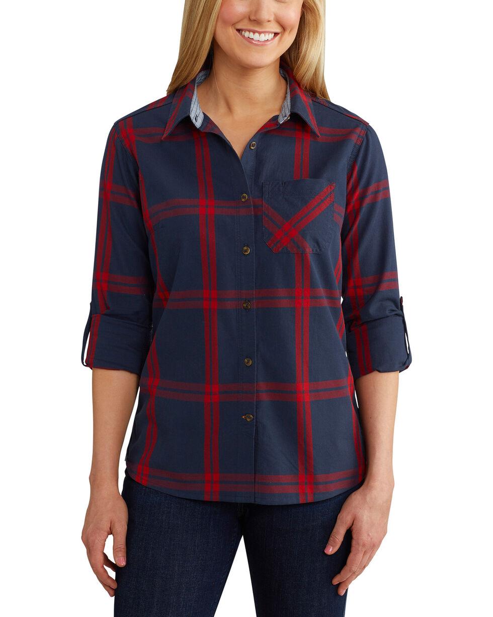 Carhartt Women's Dodson Plaid Long Sleeve Shirt, Navy, hi-res