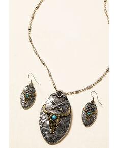 Shyanne Women's In The Oasis Longhorn Pendant Jewelry Set , Silver, hi-res