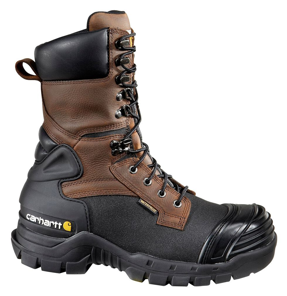 "Carhartt 10"" Composite Toe Waterproof Insulated Pac Boots - Extended Widths, Black, hi-res"