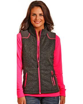 Powder River Outfitters Women's Melange Bonded Multi Media Vest, Black, hi-res