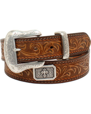 Nocona Men's Prescott Floral Embossed Cross Concho Belt, Brown, hi-res