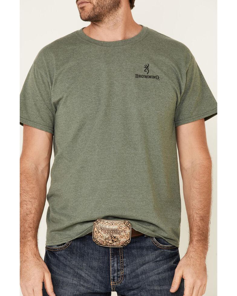 Browning Men's Green Scratch Buck Mark Logo Short Sleeve T-Shirt , Green, hi-res