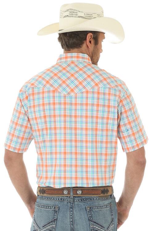 Wrangler 20X Men's Short Sleeve Plaid 2 Pocket Snap Button Shirt, Orange, hi-res