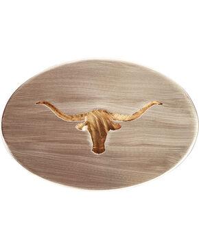 American Heritage Stainless Buckles Longhorn Steer Belt Buckle, Silver, hi-res