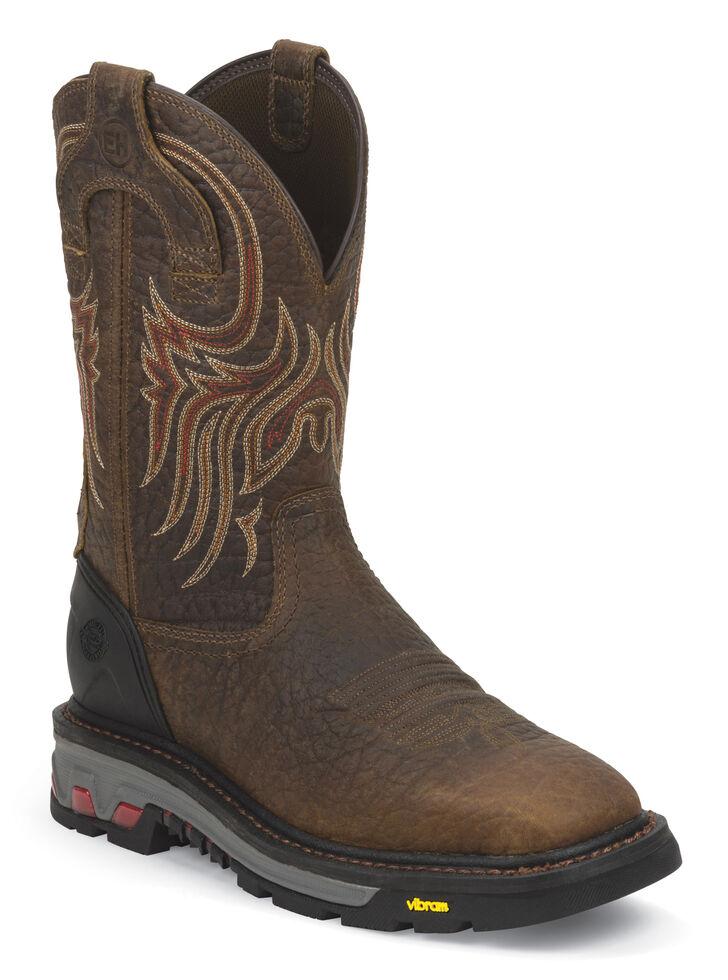 Justin Men's Driscoll Mahogany Electrical Hazard Work Boots - Soft Toe, Mahogany, hi-res