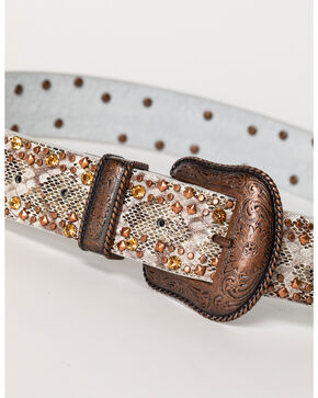 Shyanne Women's Studded Gator Print Belt, Brown, hi-res