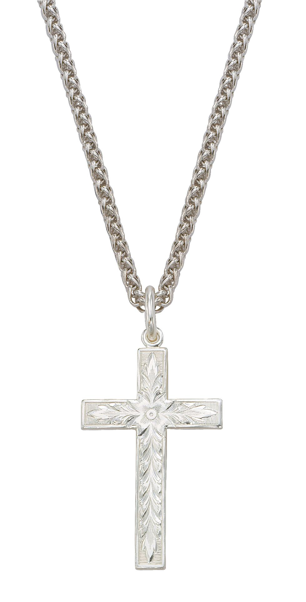 Montana Silversmiths Engraved Cross Charm Necklace, Silver, hi-res