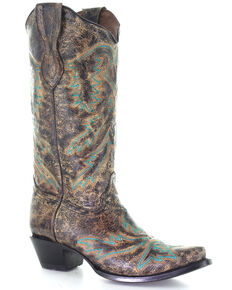 Corral Women's Black Bone Embroidery Western Boots - Snip Toe, Black, hi-res