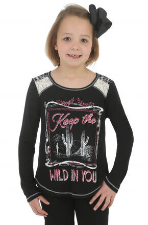 Wrangler Rock 47 Girls' Keep the Wild in You Tee, Black, hi-res