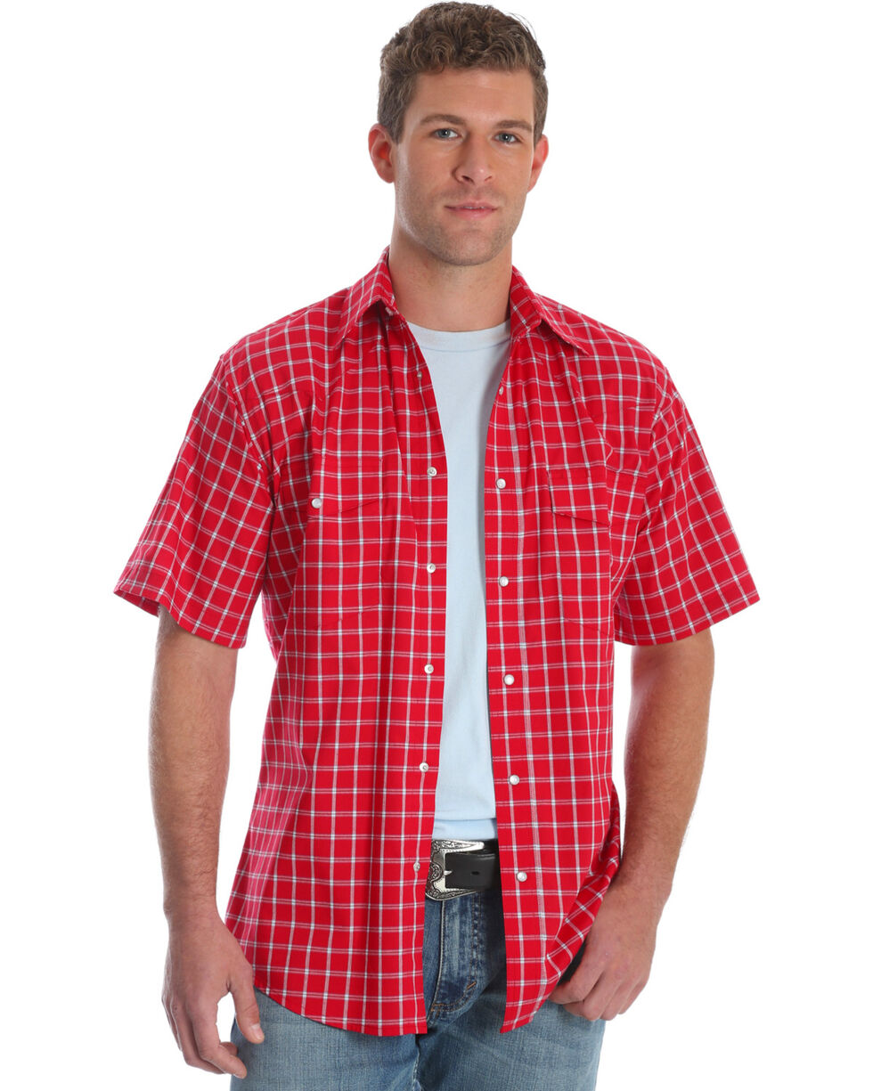 Wrangler Men's Wrinkle Resist Red Plaid Short Sleeve Shirt, Red, hi-res