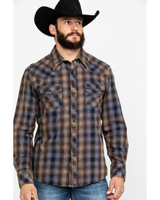 Rock & Roll Denim Men's Crinkle Washed Yarn Dye Plaid Long Sleeve Western Shirt , Black, hi-res