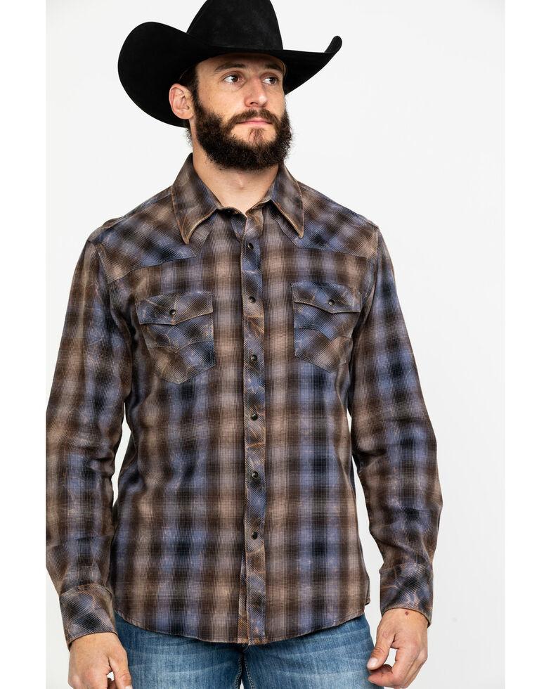 Rock & Roll Denim Men's Crinkle Washed Yarn Dye Plaid Long Sleeve Western Shirt , Black, hi-res