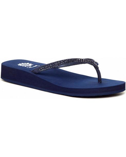 Yellow Box Women's Blue Jello Jeweled Sandals , Blue, hi-res