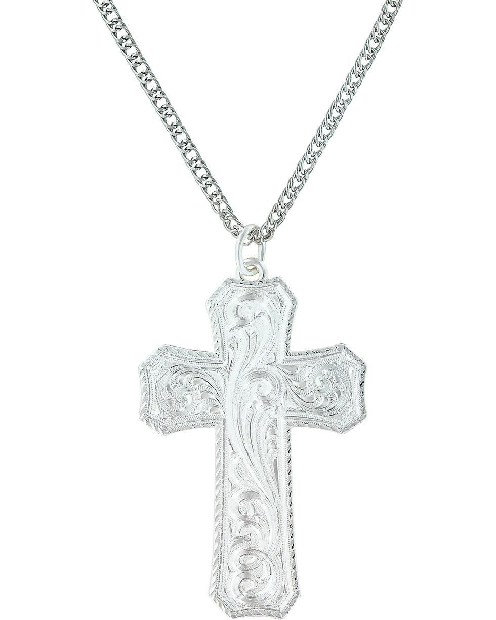 Montana Silversmiths Women's True Western Cross Necklace , Silver, hi-res