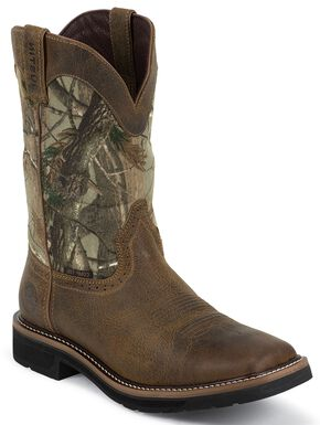 Justin Stampede Waterproof Camo Pull-On Work Boots - Square Composition Toe, Tan, hi-res