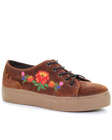 Circle G Women's Chedron Floral Embroidered Lace-up Shoes, Orange, hi-res