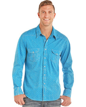 Rock & Roll Cowboy Men's Blue Crinkle Wash Poplin Print Shirt, Bright Blue, hi-res