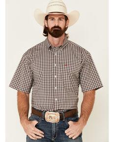 Cinch Men's Arena Flex Small Plaid Short Sleeve Western Shirt , Cream, hi-res