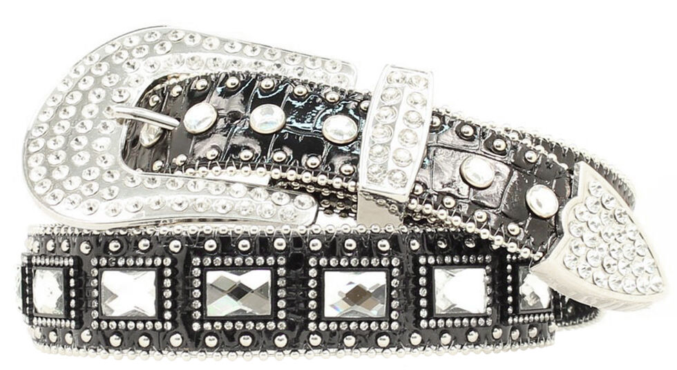 Blazin Roxx Square Rhinestone Studded Leather Belt, Black, hi-res