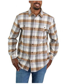 Carhartt Men's Asphalt Plaid Heavyweight Long Sleeve Work Flannel Shirt Jacket, Grey, hi-res