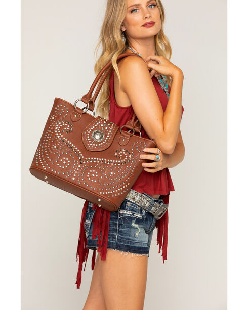 Shyanne Women's Rhinestone Swirl Concealed Carry Tote, , hi-res