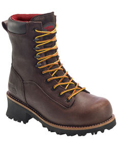 "Avenger Men's 10"" Waterproof Logger Boots - Composite Toe, Brown, hi-res"