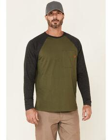 Hawx Men's Moss Green Original Baseball Crew Long Sleeve Work T-Shirt , Moss Green, hi-res