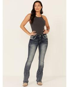 Grace in LA Women's Burnout Bootcut Jeans, Blue, hi-res