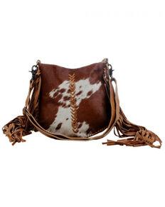 Mrya Bag Women's Edgy Cowhide Satchel Bag, Brown, hi-res